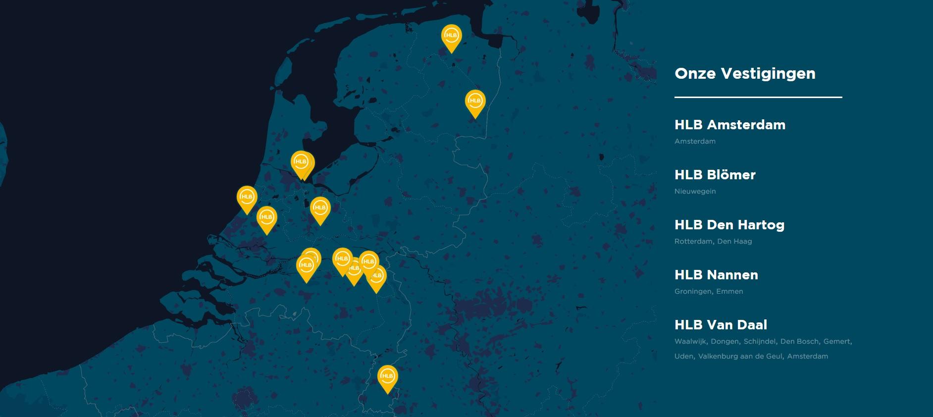 Landkaart | Vestigingen | HLB
